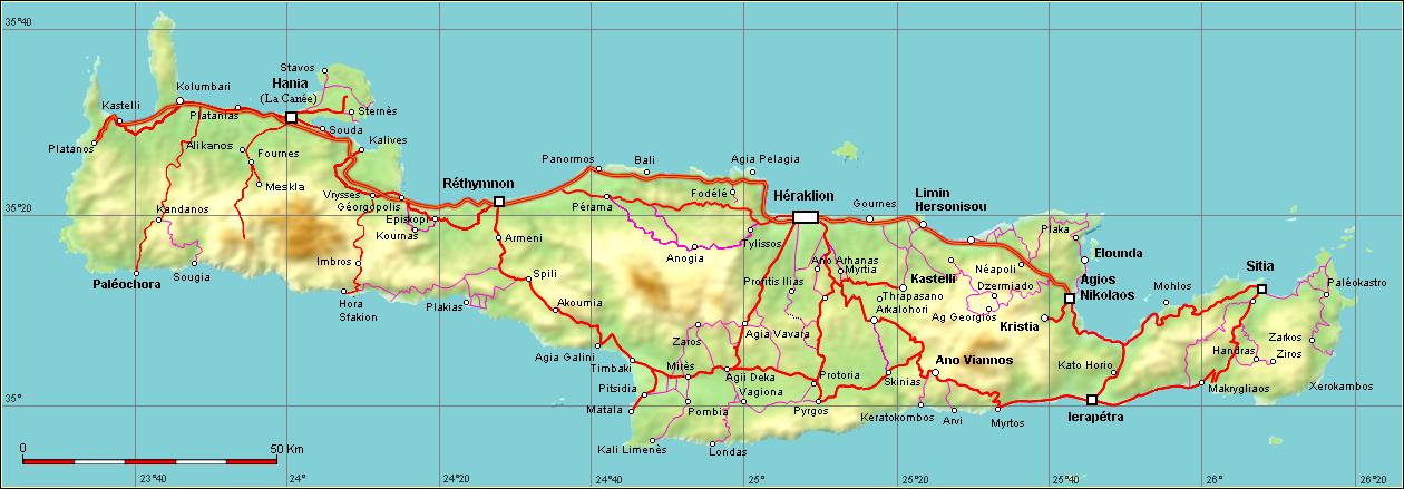 Carte Routiere Crete En Francais.Carte Routiere De Crete Mismis