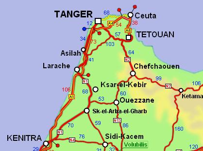 carte routiere maroc avec kilometrage Carte routière détaillée du Maroc avec kilométrage 2011
