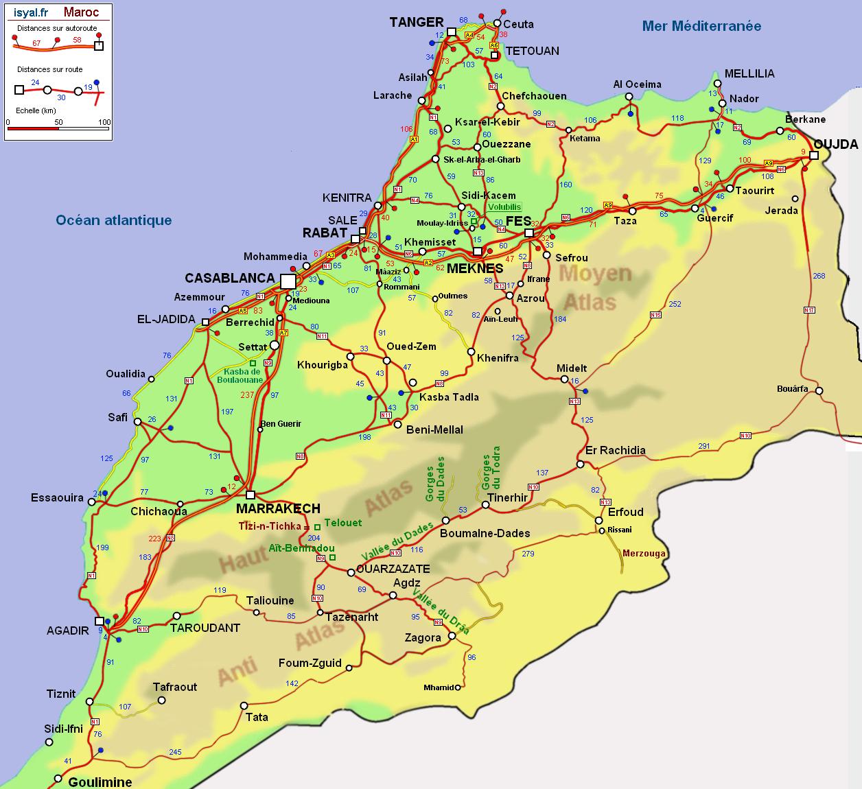 Carte routière détaillée du Maroc avec kilométrage 2011